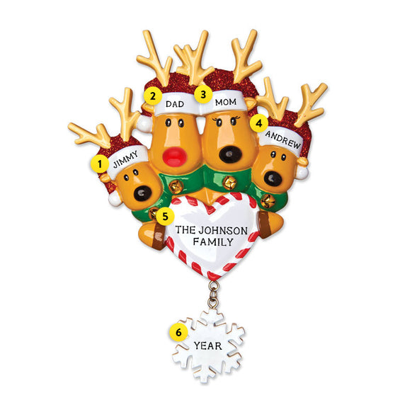 Reindeer Family of 4 with Heart and Snowflake Ornament for Christmas Tree