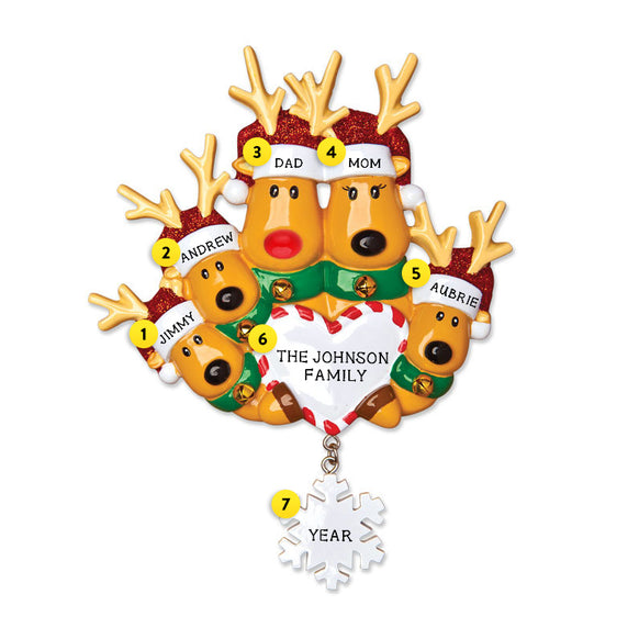 Reindeer Family of 5 with Heart and Snowflake Ornament for Christmas Tree