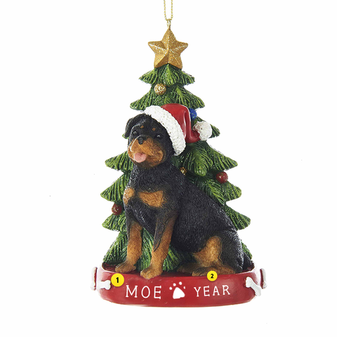 Rottweiler Dog Ornament For Christmas Tree