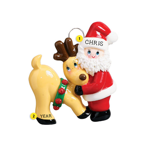 Santa and Deer Ornament for Christmas Tree