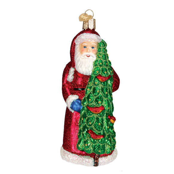 Santa with Calling Birds Ornament for Christmas Tree