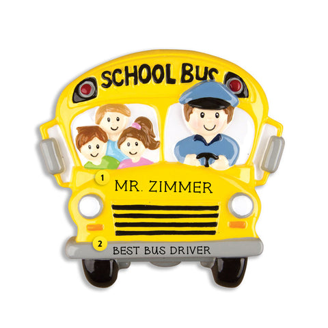 School Bus with Riders Ornament for Christmas Tree