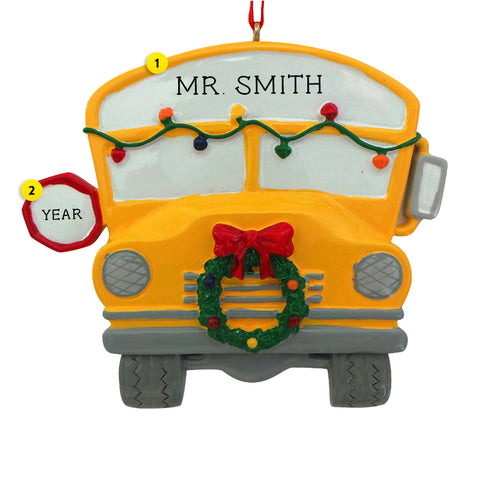 School Bus Ornament with Christmas Lights and Wreath