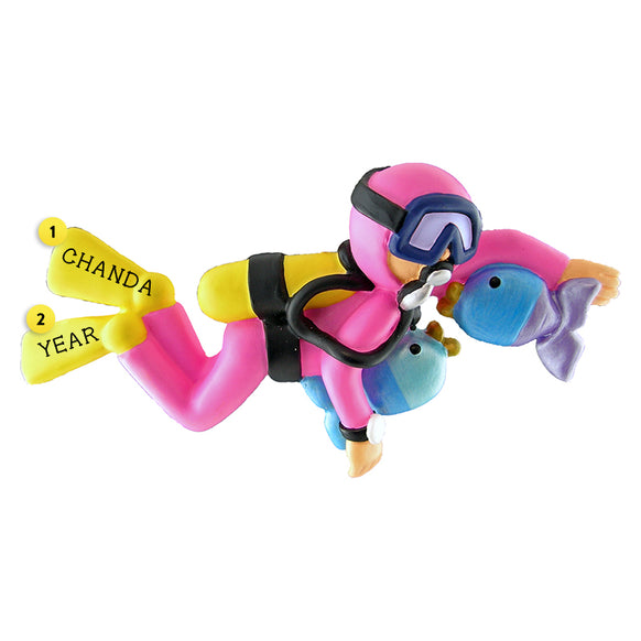 Scuba Diver Ornament - Female for Christmas Tree