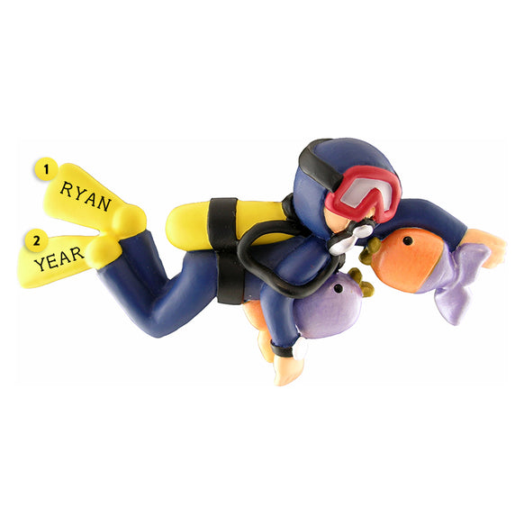 Scuba Diver Ornament - Male for Christmas Tree