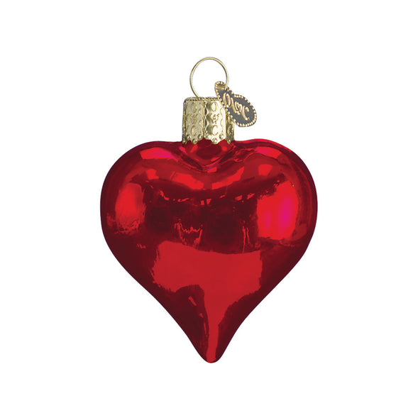 Shiny Red Heart Ornament for Christmas Tree