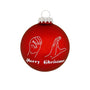 Sign Language Hands wishing Merry Christmas Red Glass Ornament