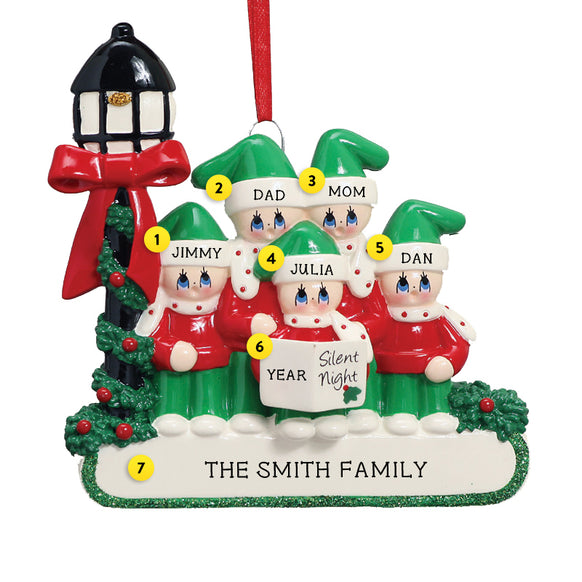 Silent Night Caroling Family of 5 Ornament for Christmas Tree
