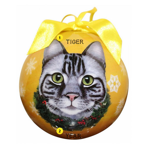Tabby Cat Bulb Ornament Silver