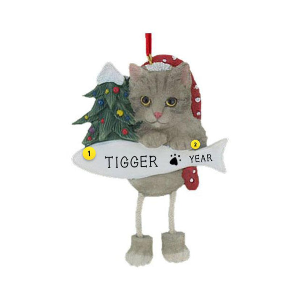 Tabby Cat Ornament Silver Grey Personalized for Christmas Tree