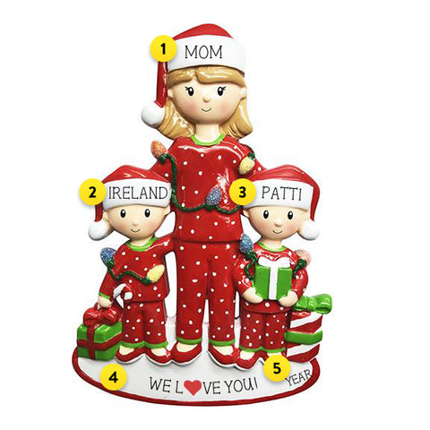 Single Mom with 2 Children Ornament For Christmas Tree