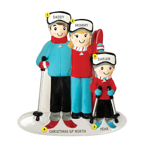 Skiing Family of 3 personalized resin ornament