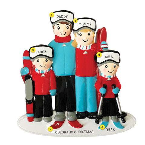 Snow Skiing Family of 4 personalized ornament