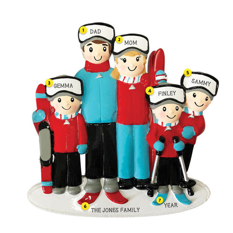 Snow Skiing Family of 5 personalized resin ornament