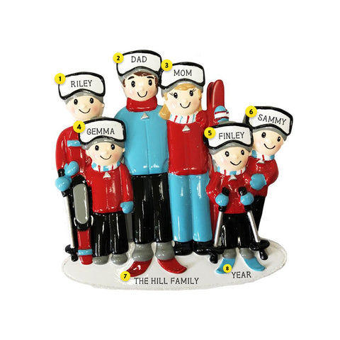 Snow Skiing Family of 6 personalized ornament