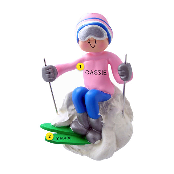Snow Ski Ornament - Female for Christmas Tree