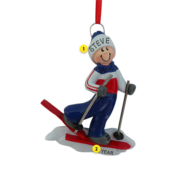 Male with Red Snow Skis Ornament for Christmas Tree