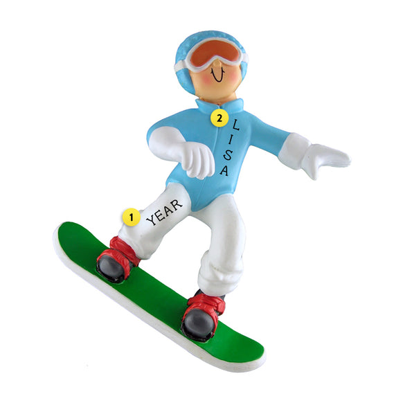 Snowboarder Ornament - Female for Christmas Tree