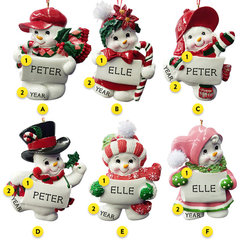 Resin Snowman Six Assorted Styles Can Be Personalized For your tree
