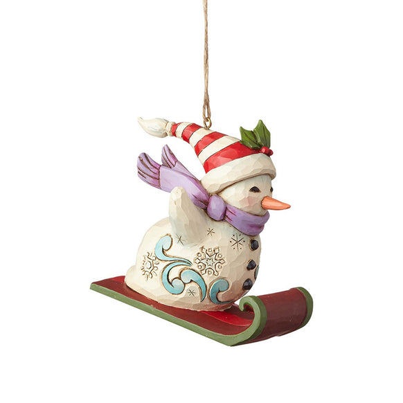 Snowman Sledding Ornament for Christmas Tree