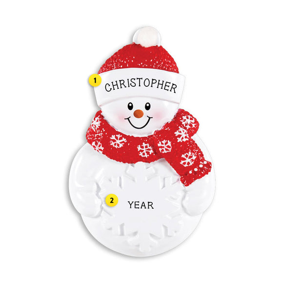 Snowman with Snowflake Ornament for Christmas Tree
