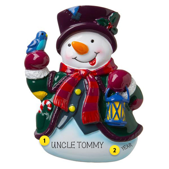 Snowman with Lantern Personalized Ornament