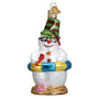 Snowman on Beach Ornament for Christmas Tree