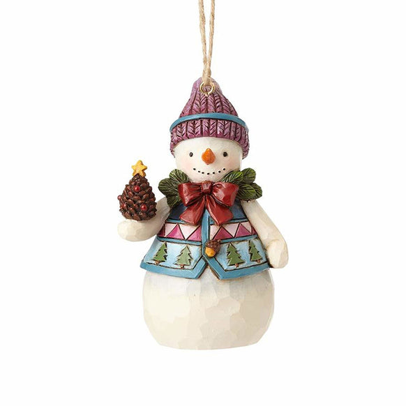 Snowman with Pinecone Mini Ornament for Christmas Tree