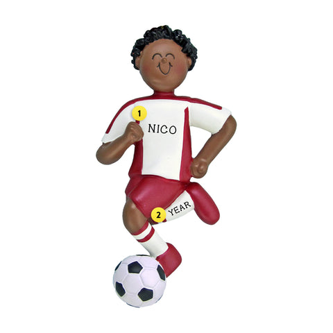 Soccer Ornament - Black Male, Red Uniform for Christmas Tree