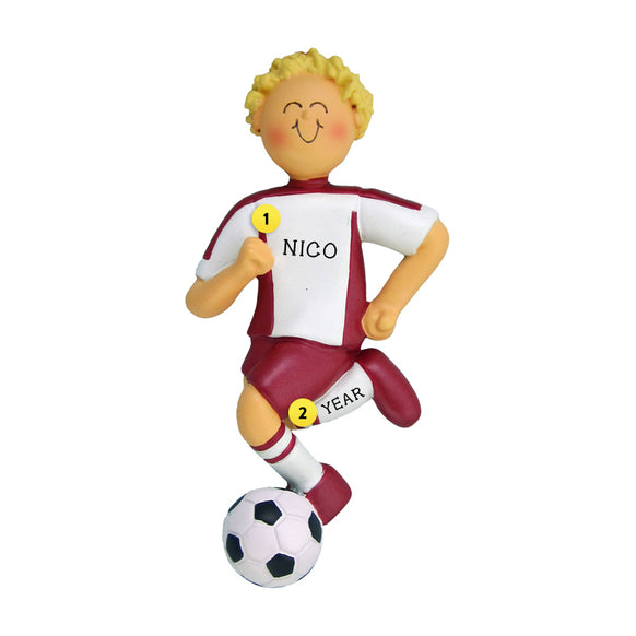Soccer Ornament - White Male with Blond Hair, Red Uniform for Christmas Tree