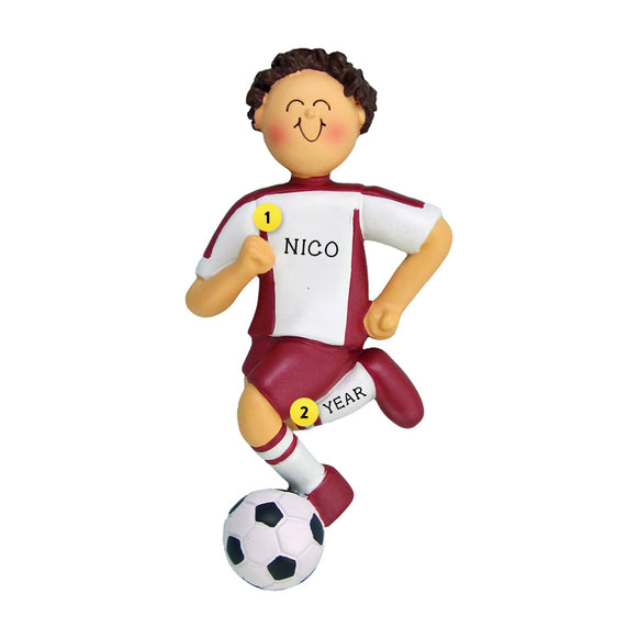 Soccer Ornament - White Male with Brown Hair, Red Uniform for Christmas Tree