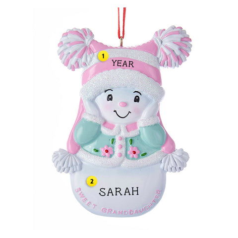 Sweet Granddaughter Snowgirl Ornament for Christmas Tree