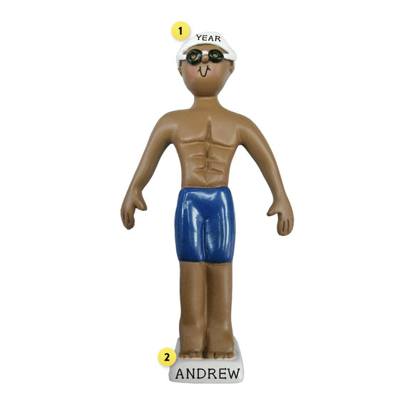 Swimmer Ornament - African-American Male