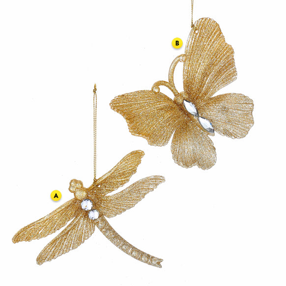 Golden Glittered Dragonfly or Butterfly Ornament
