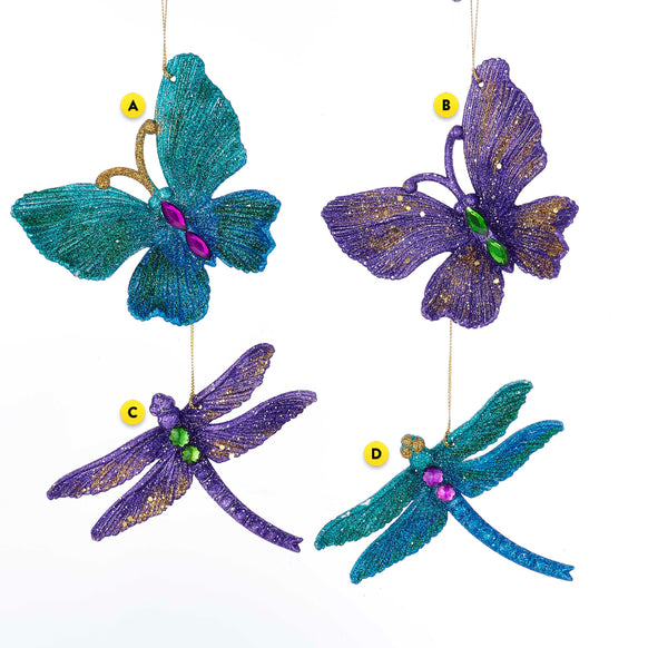 Glittered Butterfly or Dragonfly Ornament