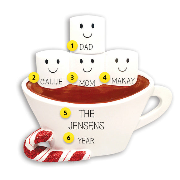 Hot Cocoa Family of 4 Table Top Decoration