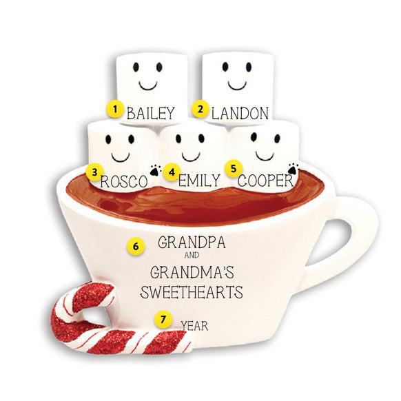 Hot Cocoa Family of 5 Table Top Decoration