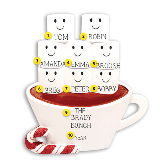 Hot Cocoa Family of 8 Table Top Decoration