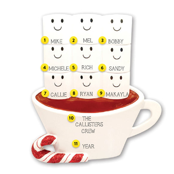 Hot Cocoa Family of 9 Table Top Decoration