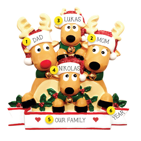 Reindeer Family of 4 Table Top Decoration