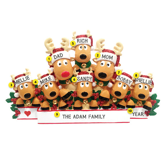 Reindeer Family of 8 Table Top Decoration