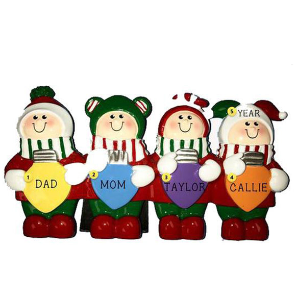 Christmas Lights Family of 4 Table Top Decoration