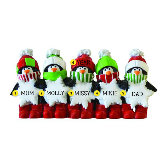 Penguin Family of 5 Table Top Decoration