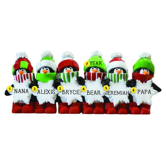 Penguin Family of 6 Table Top Decoration