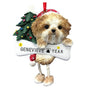 Tan Shih Tzu Puppy Cut Dog Ornament for Christmas Tree