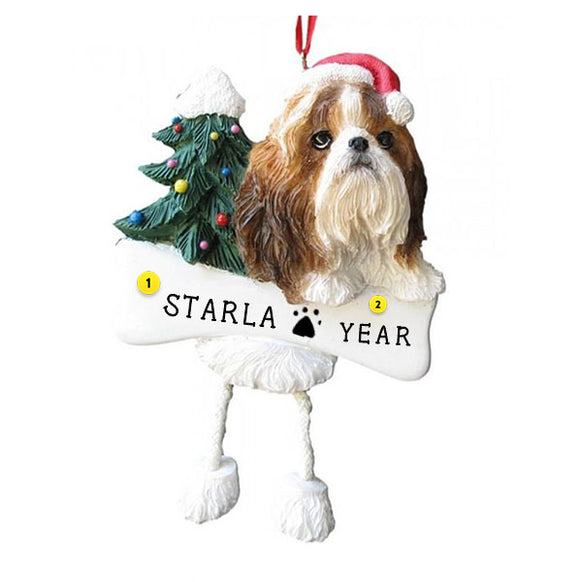 Tan & White Shih Tzu Dog Ornament for Christmas Tree