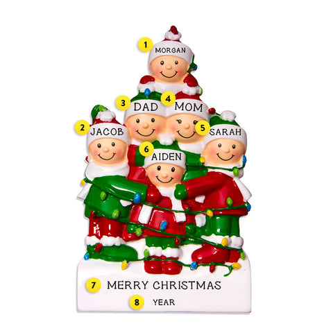 Tangled in Lights Family of 6 Ornament for Christmas Tree