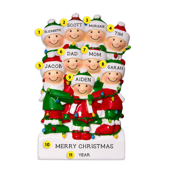 Tangled in Lights Family of 9 Ornament for Christmas Tree