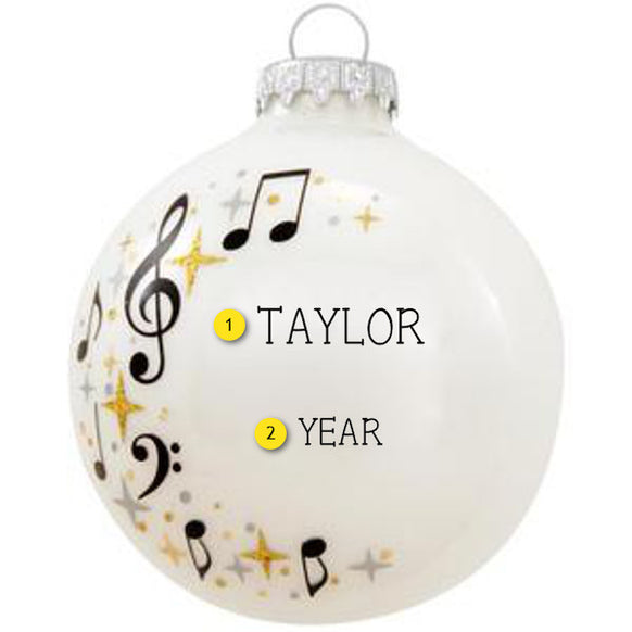 Music Swirl Glass Ornament