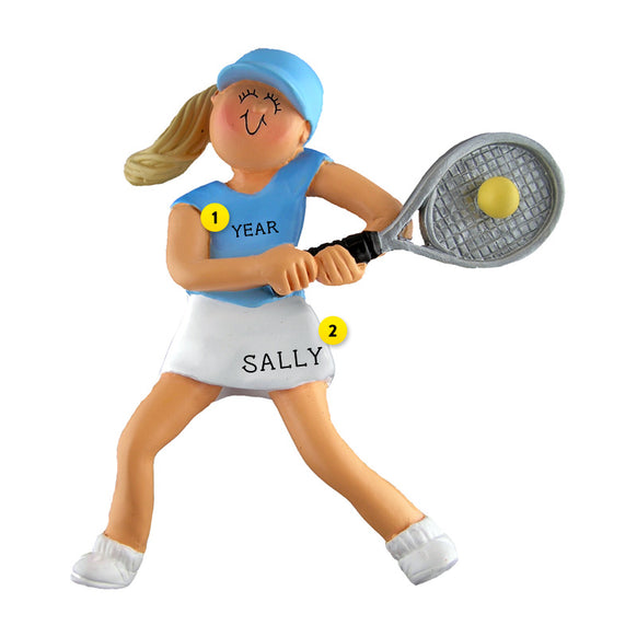 Tennis Ornament - Female, Blond Hair for Christmas Tree